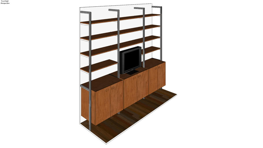 "ISS Designs Modular Shelving - 102"" Wide 3 Bay Pole Mounted Bookcase with cabinets and shelves"
