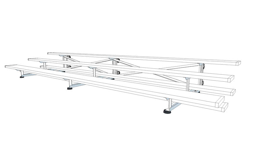 3 Row Tip And Roll Bleachers Show And Stow Series 15ft 3d Warehouse