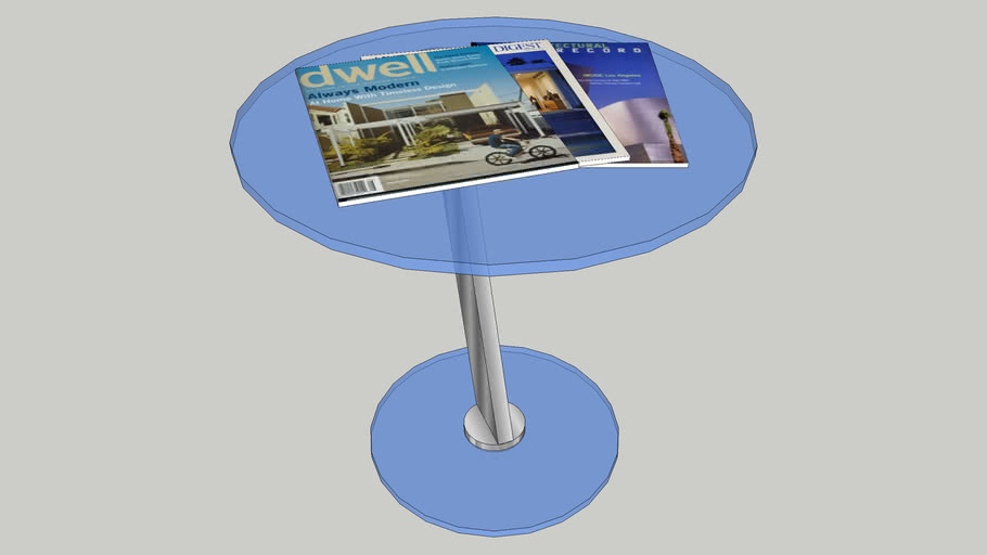 Glass Coffee Table with Magazines
