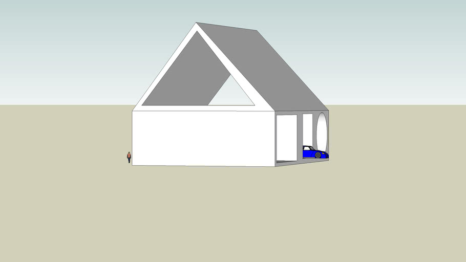 Simple house with car tv and 2 chairs