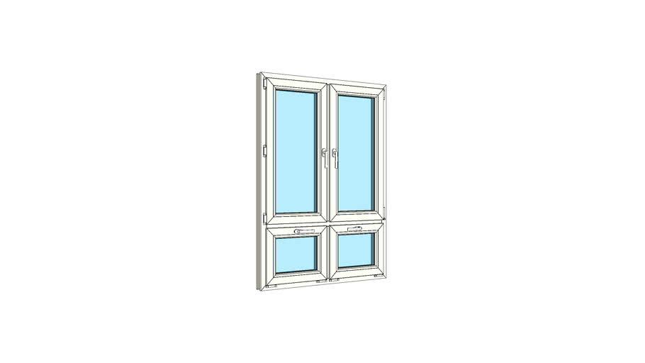 Окно двухстворчатое с двойной нижней фрамугой VEKA Softline 82