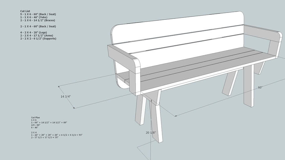 Simple Garden Bench 3d Warehouse