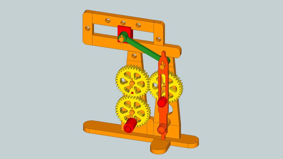 Hand-cranked wood model of Whitworth mechanism