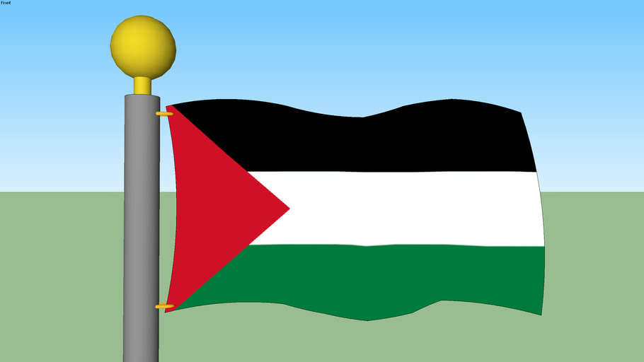 Palestinian Flag with Flagpole