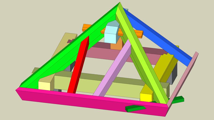 振れ隅木・たる木小屋組 Rarts of the roof truss with tilted Sumigi and tilted Taruki