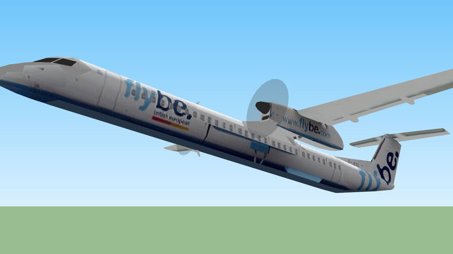 FlyBe Dash 8 Q400 after takeoff from Birmingham.