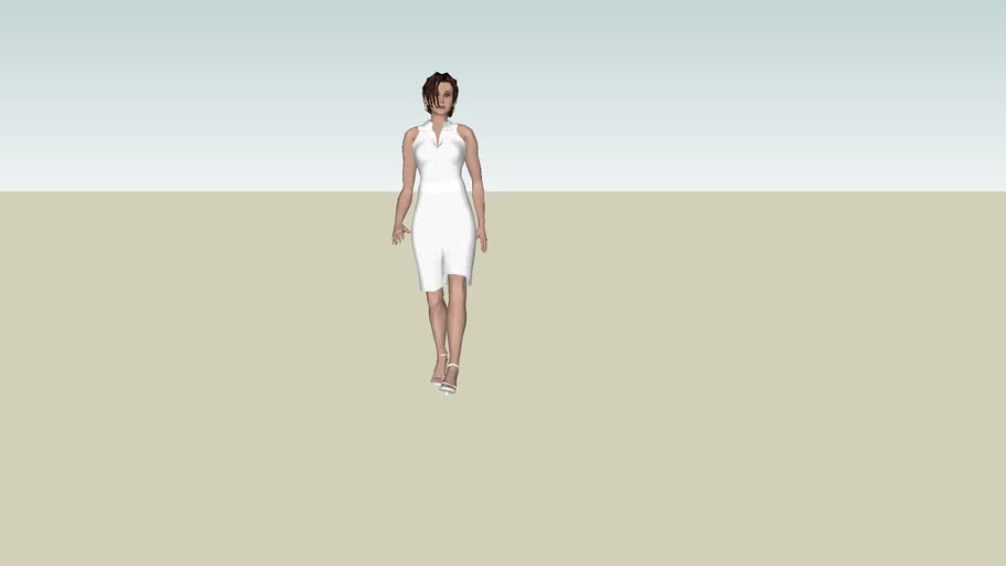 Woman walking in white 3