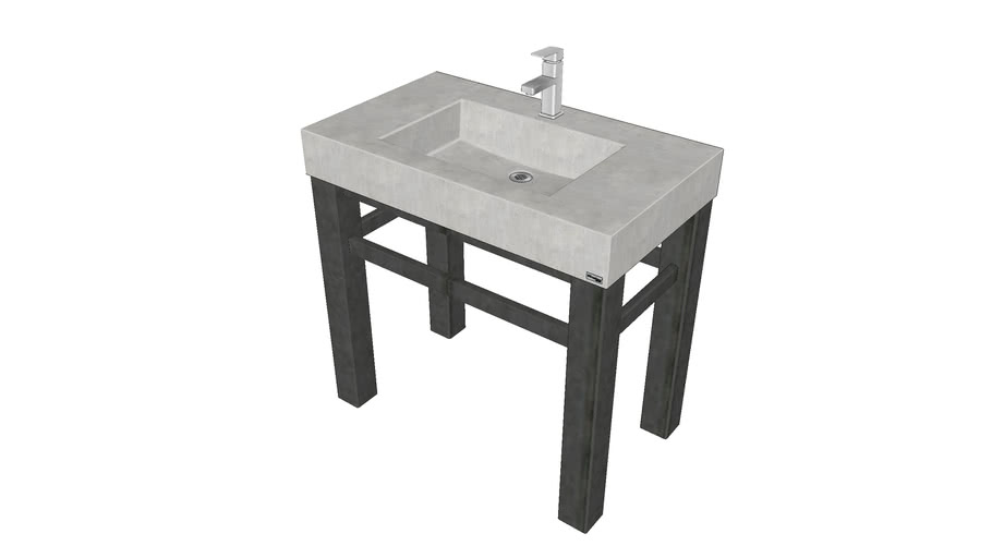 """36"""" Industrial Vanity with Concrete Rectangle Sink"""