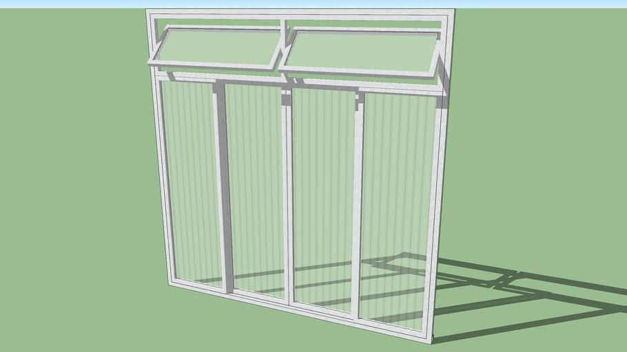 Janela de ferros 4 folhas + 2 basculhantes e vidros canelados 1,20x1,20