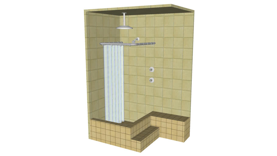 Built-in Corner Shower with Curtain - Detailed