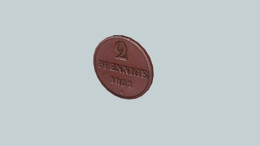 Coin - 2 Pfennige, Germany, 1851