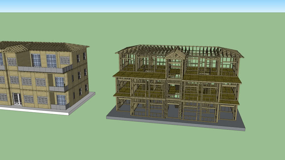 Wooden Apartment Building
