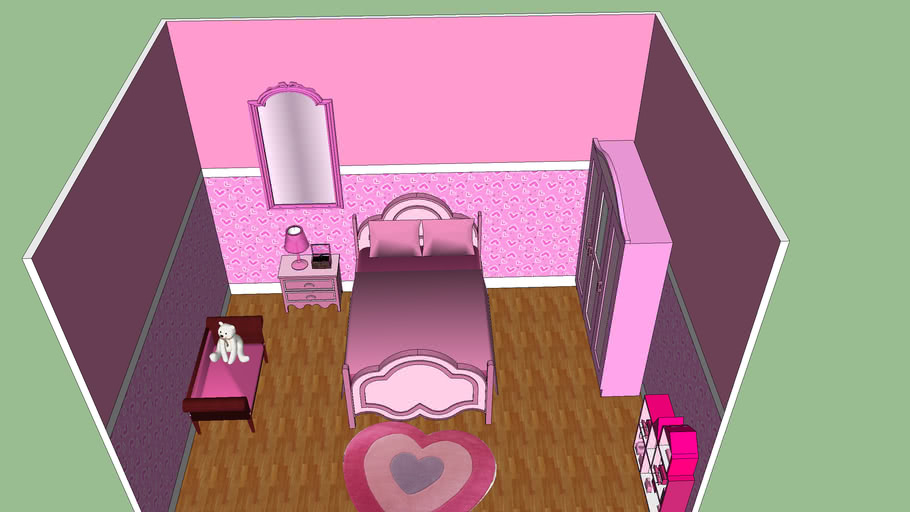 Pink Girl Vintage Bedroom