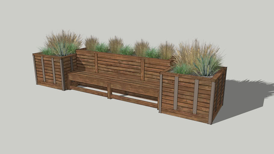 Wood Planter Bench With Shrubs 3d Warehouse