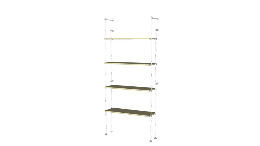 Tube Outrigger - 4 Wood Shelves - Base Unit