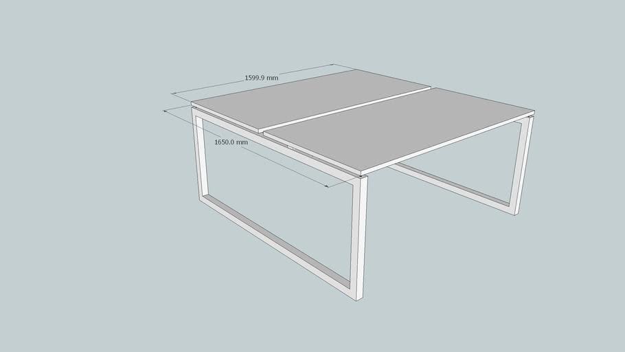 Connex P4Z bench, O-poot in hoogte verstelbaar, 160 x 165 cm