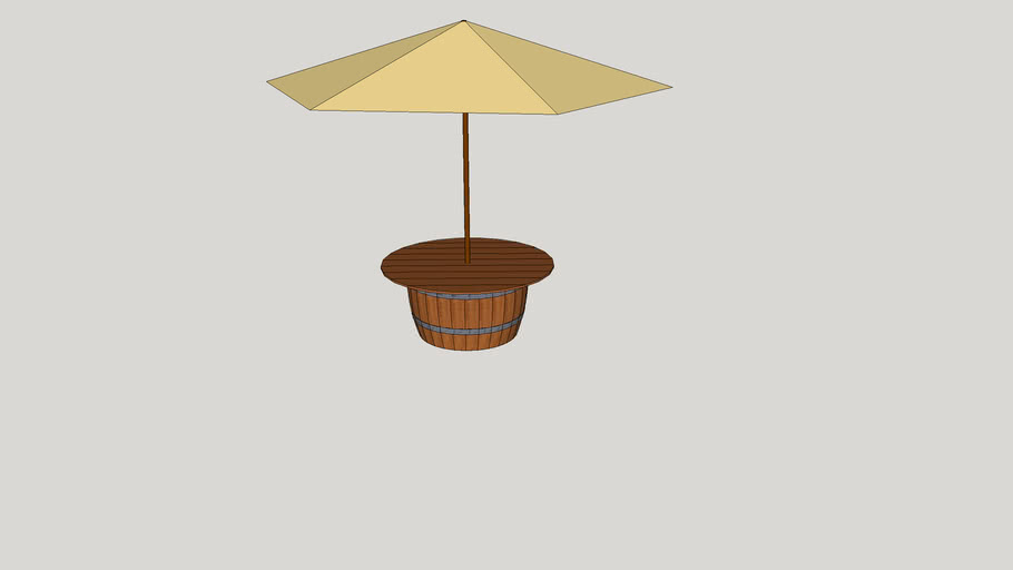 barrel table round top w/ umbrella