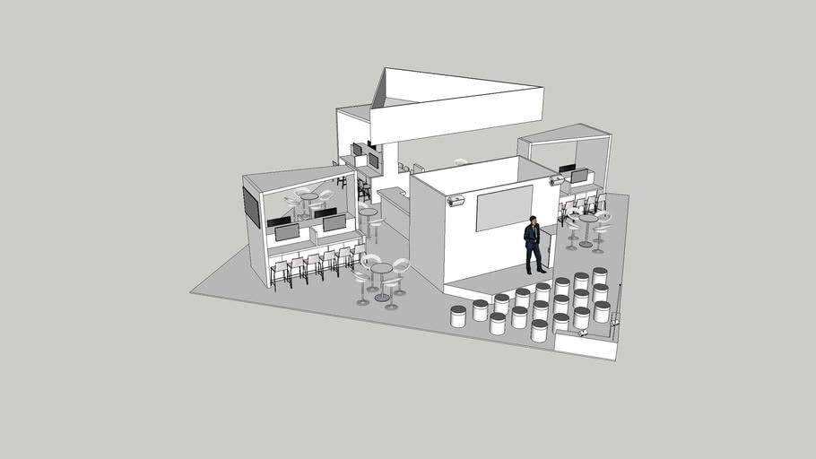 12m x 12m Exhibition Stand with 40mm Raised Platform Floor, Hanging Banner, Coffee Bar & Demos Areas