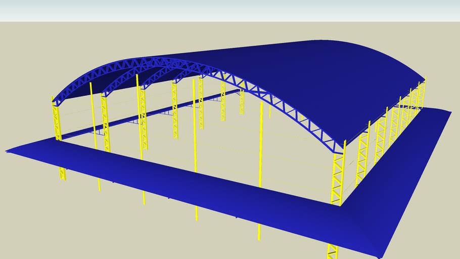 Estrutura de aço para quadra de futebol com cobertura anexa