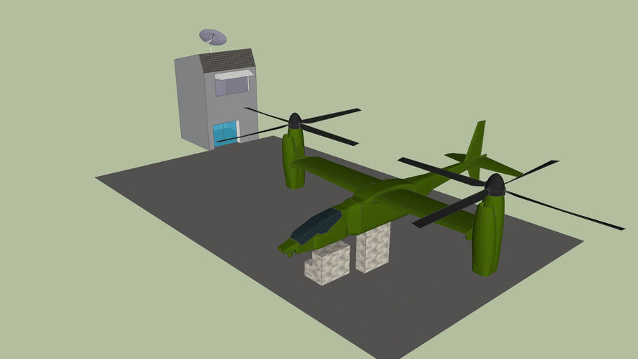 Military Stealth Helicopter landing pad