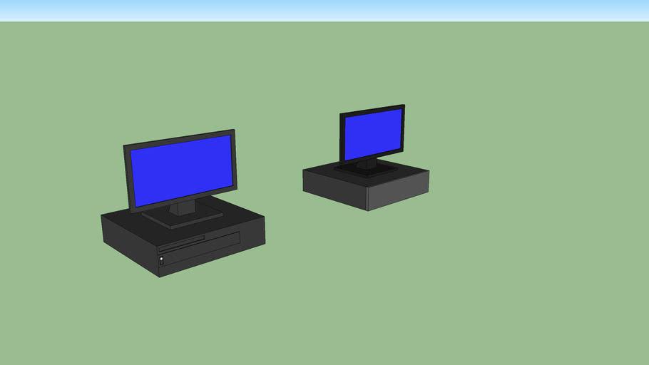 Computer Desktop and Monitor