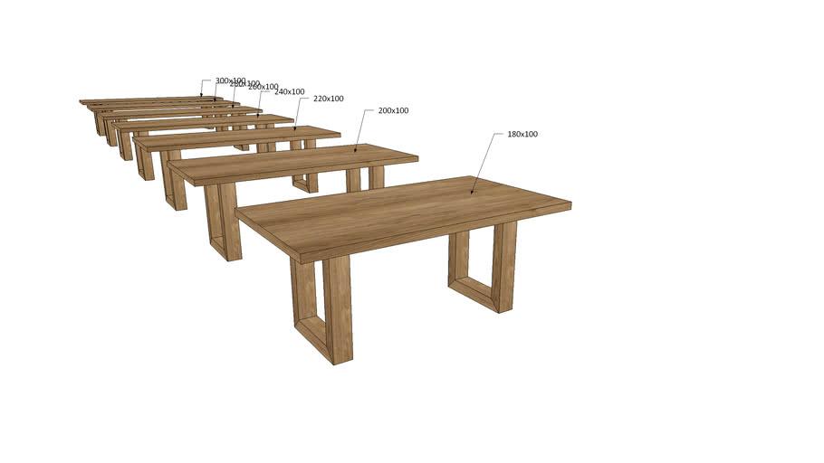 VI1Ux, Vivaldi Dining Table U Wooden Legs