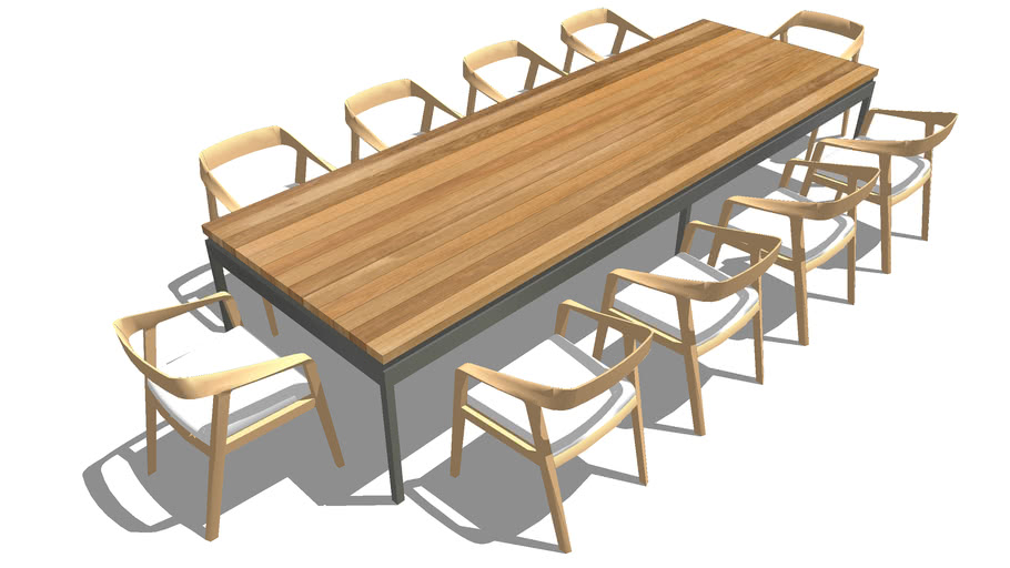 Wood Dining Table 10 Seat Herman Miller Chair 3d Warehouse