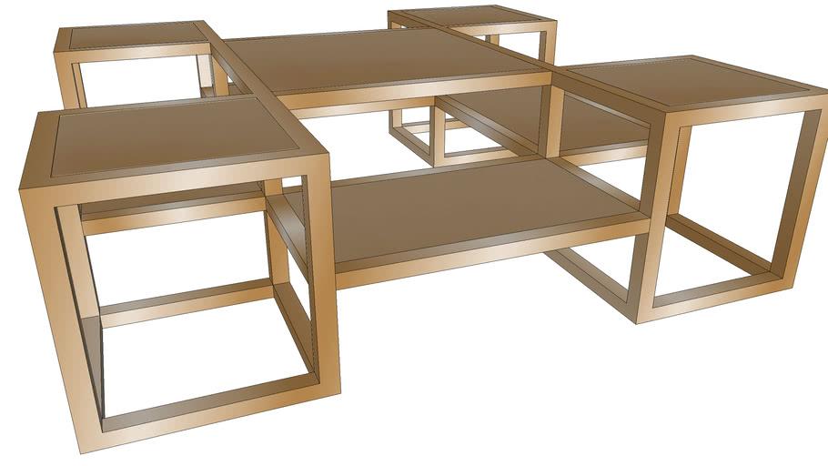 81702 Coffee Table Steps Gold 120x120cm, B & B Furniture