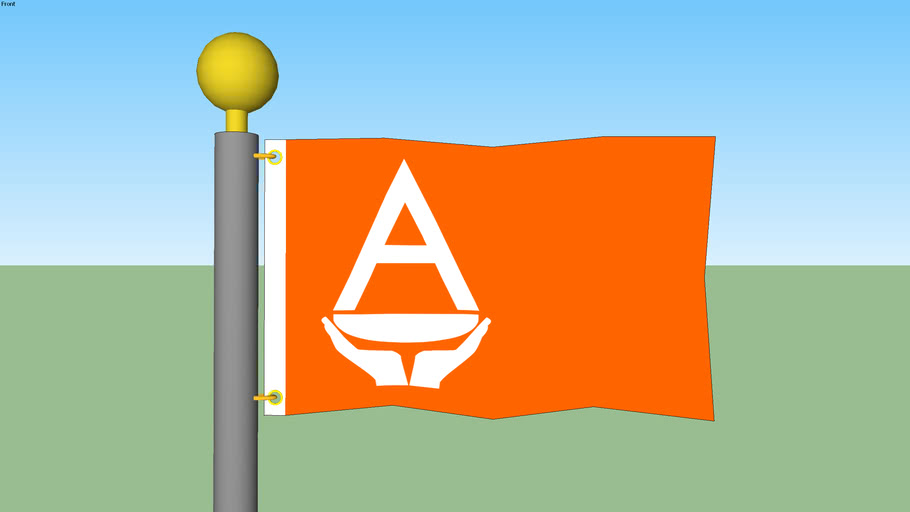 Antarctica Flag with Flagpole