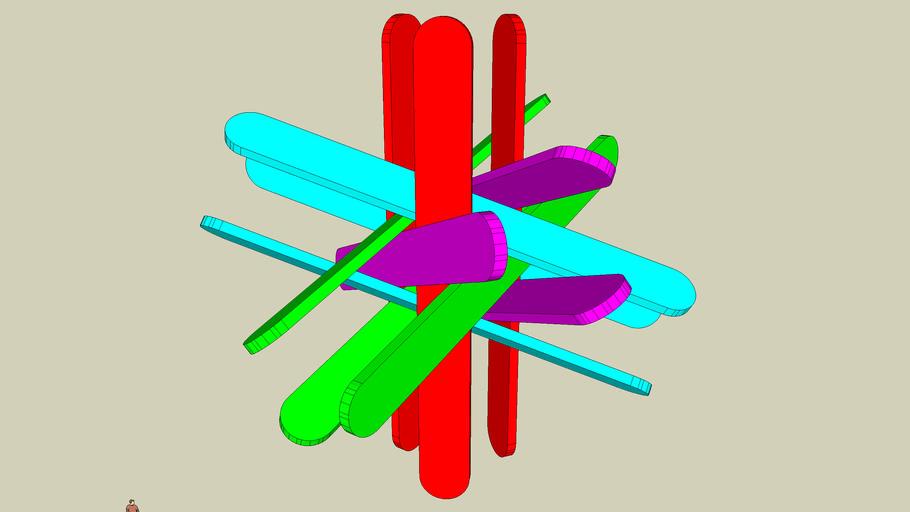Rhombic polyhedra ice cream sticks