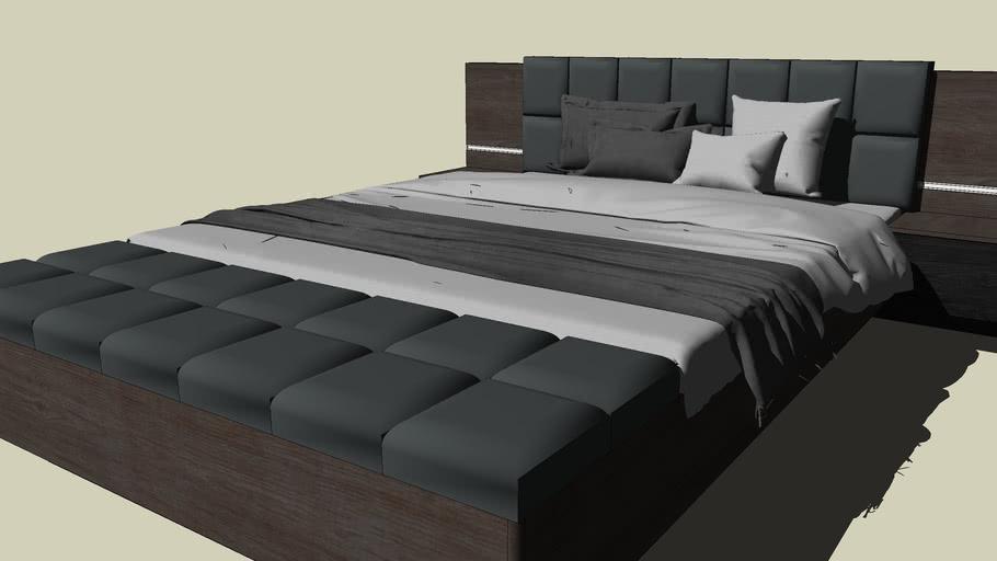 Łóżko RECOVER z szafkami i ławą RCVL161B AGATA MEBLE bed