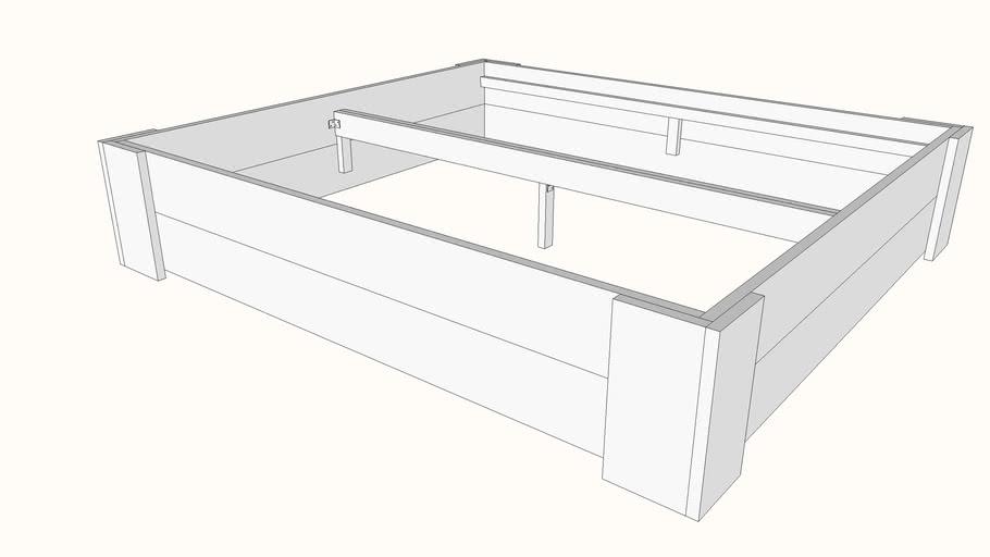 Simpel horizontaal bed van geschaafd steigerhout bouwpakket