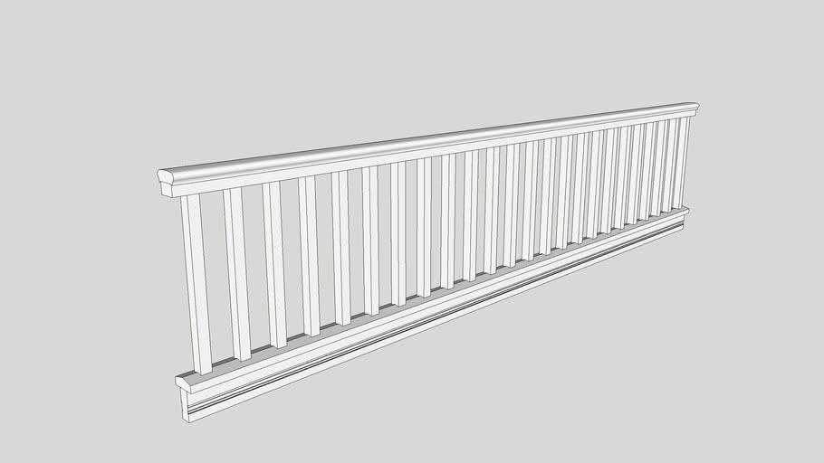 "Porch Balustrade: 4"" rail, 1 3/8 x 20"" Square Balusters"
