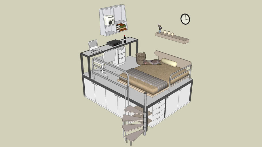 Modern Aluminium Bed with storage and set