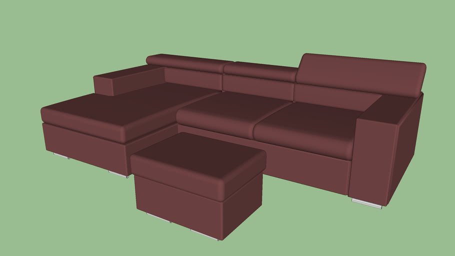 Gamma HUGO sectional 280 by 163 CM with Ottoman