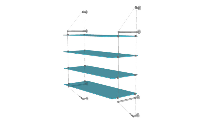 Cable Wall Unit - 4 Glass Shelves - Base