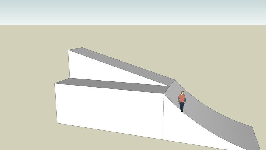 Jetski jump ramp with pedestrian