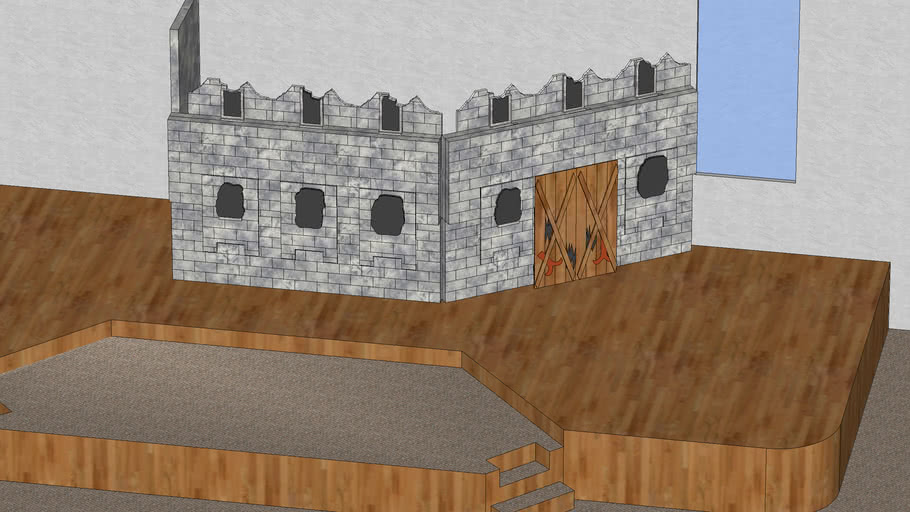 castle prop with wall down