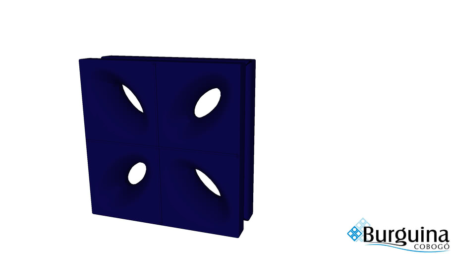 Cobogó Cerâmico Esmaltado Azul 20x20 Linha Pétala - Burguina Cobogó