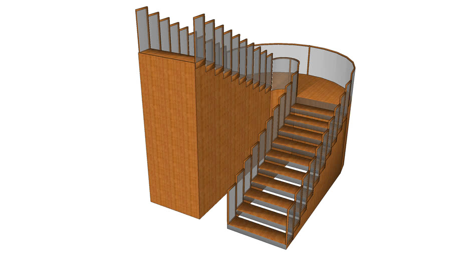 Curved Platform Staircase