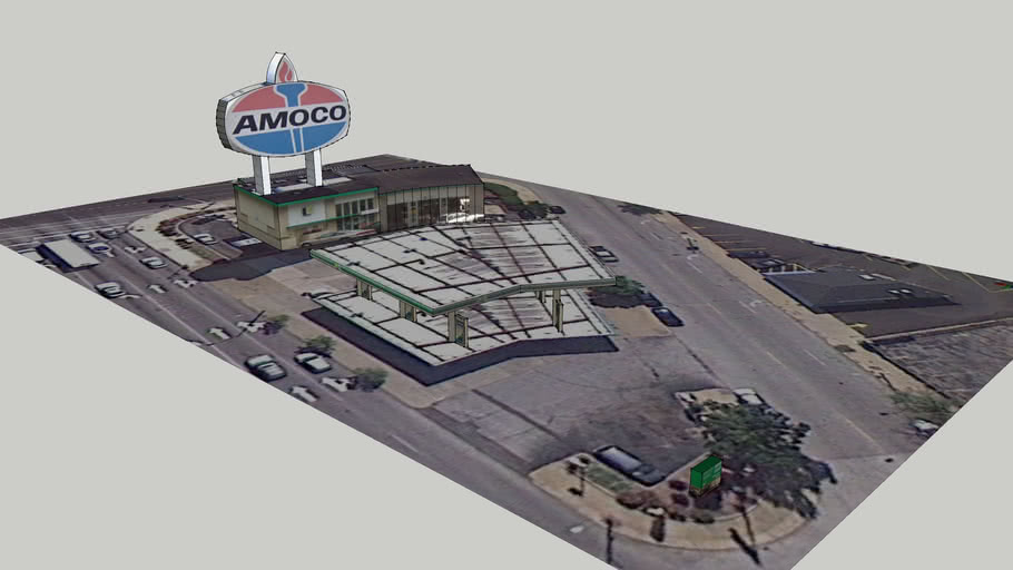 Large Amoco Sign & Gas Station
