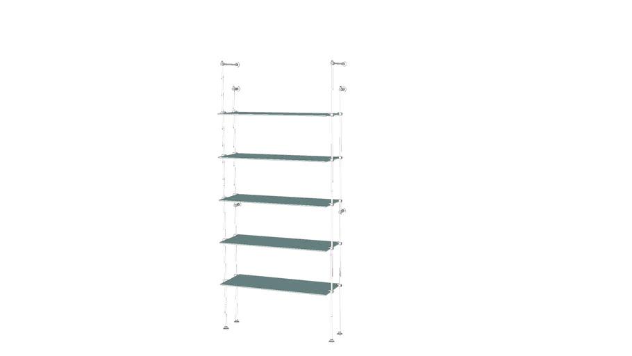 Tube Outrigger - 5 Glass Shelves - Base Unit