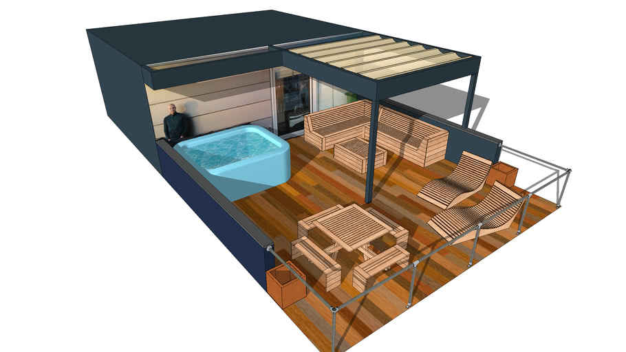 Roof Terrace Furniture Pergola Sunshade 3d Warehouse