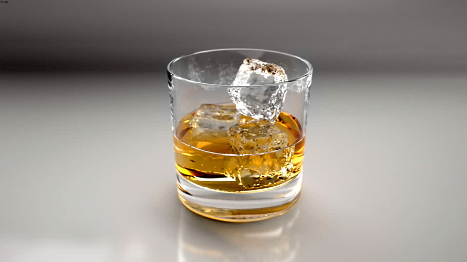 Whisky Glass + Ice Cubes + Render (High Poly)
