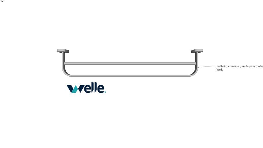 Toalheiro para toalha de banho para banheiro em metal cromado Welle