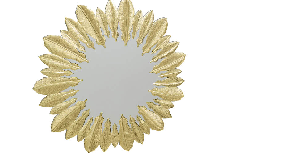 52904 Wall Mirror Feather Dress Gold 49cm