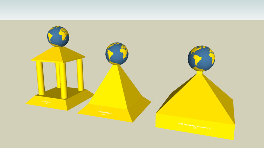 1st,2nd,and 3rd place trophies of my planet contest(for texture)