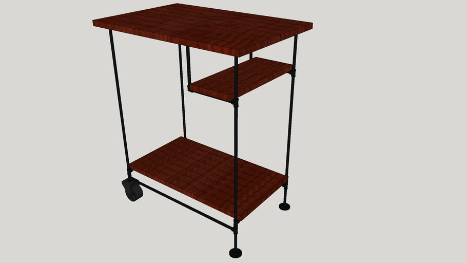 Industrial inspired bar cart with wood shelves