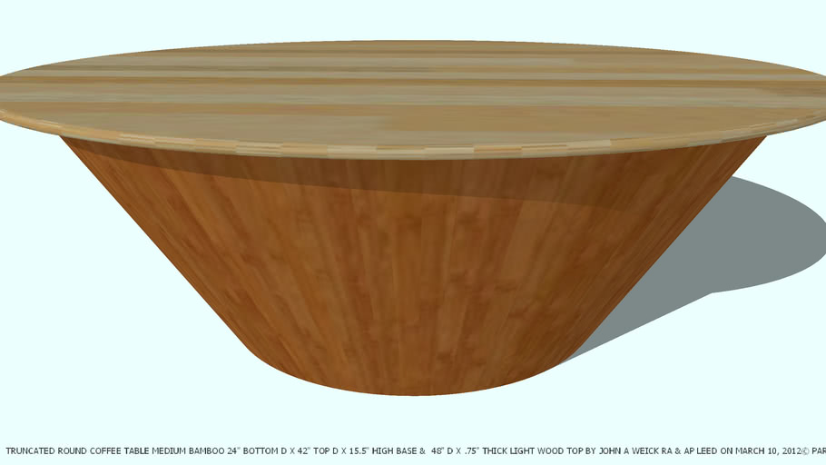 TABLE COFFEE TRUNCATED ROUND 48D BY JOHN A WEICK RA