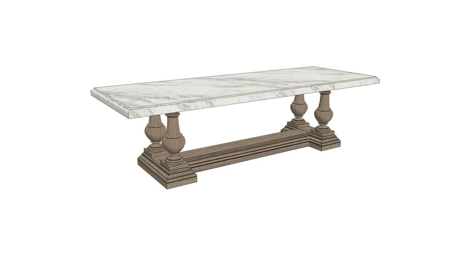 St James Marble Rectangular Dining Table By Restoration Hardware 3d Warehouse